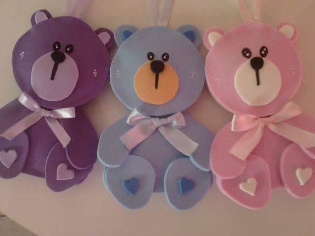 artesanato em eva ursinhos coloridos