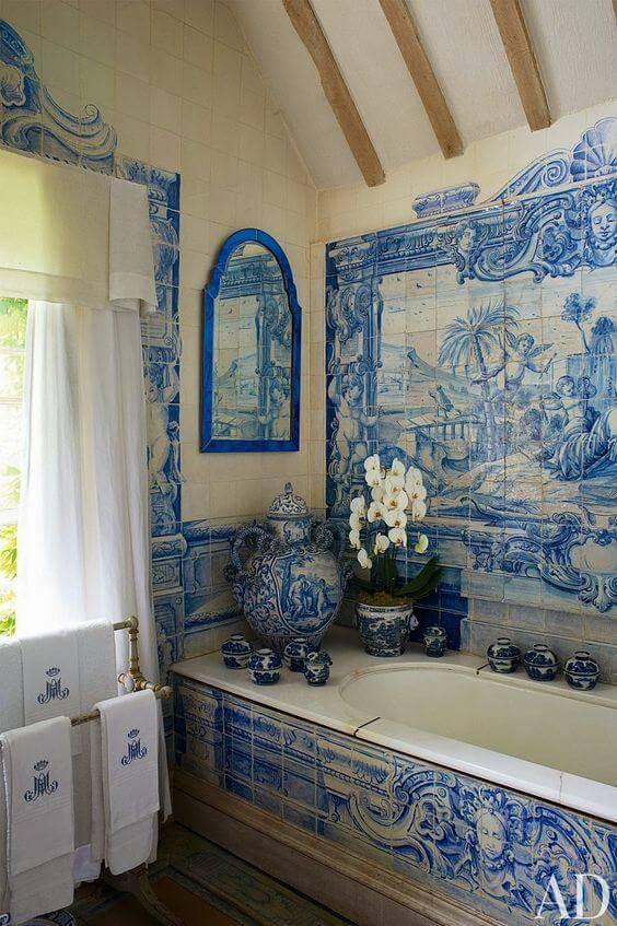 azulejo portugues banheiro vintage