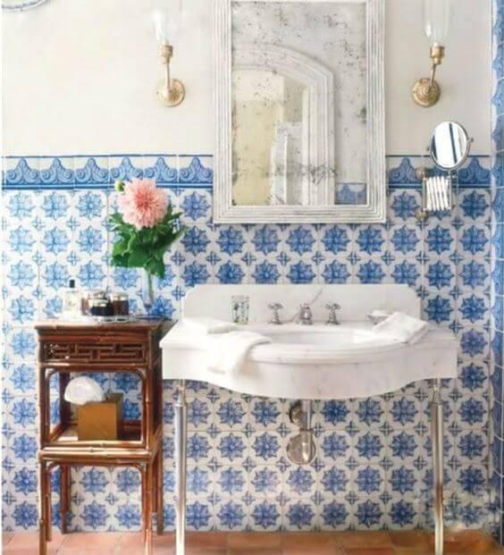 azulejo portugues banheiro vontage