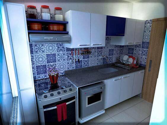 azulejo portugues cozinha pequena revestida
