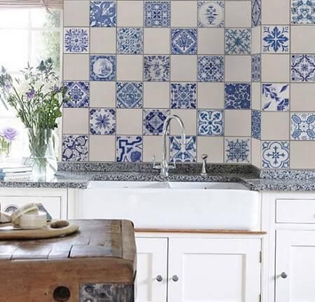 azulejo portugues intercalado cozinha