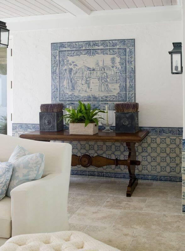 azulejo portugues painel sala de estar