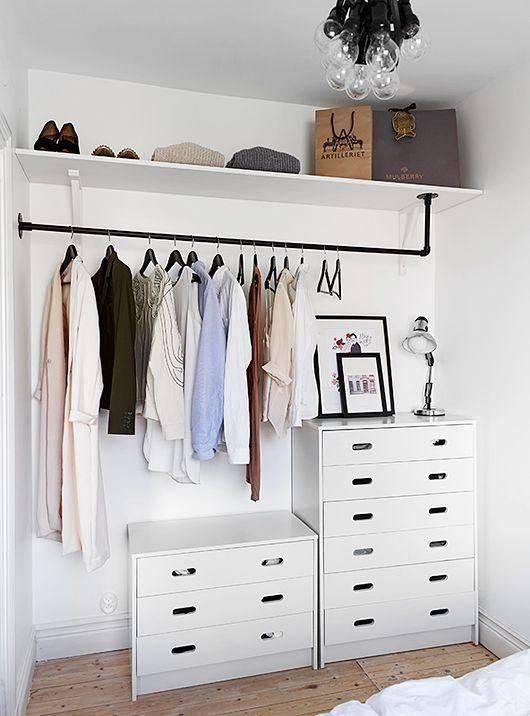 closet pequeno e barato com comodas