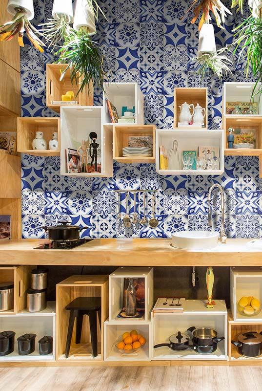Cozinha diferente com azulejo português