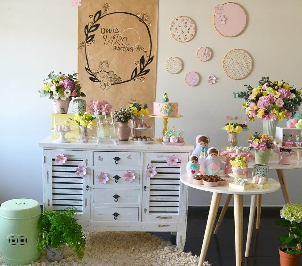 decoração chá de bebê com tema matrioska Foto Cereja Studio de Festas