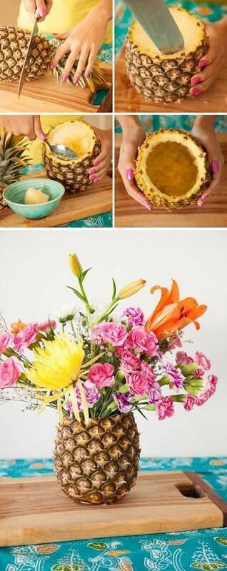 decoração de festa arranjo de flores e frutas