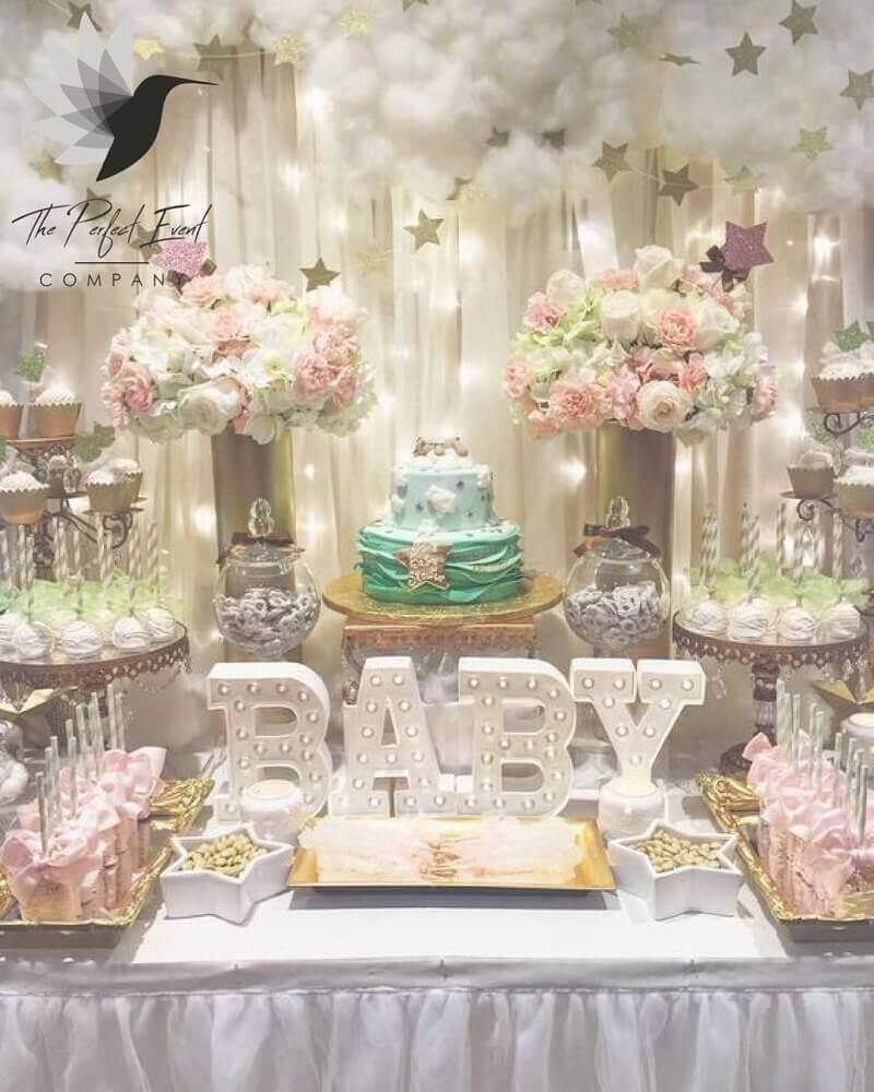 decoração de mesa para chá de bebê Foto Home Cake
