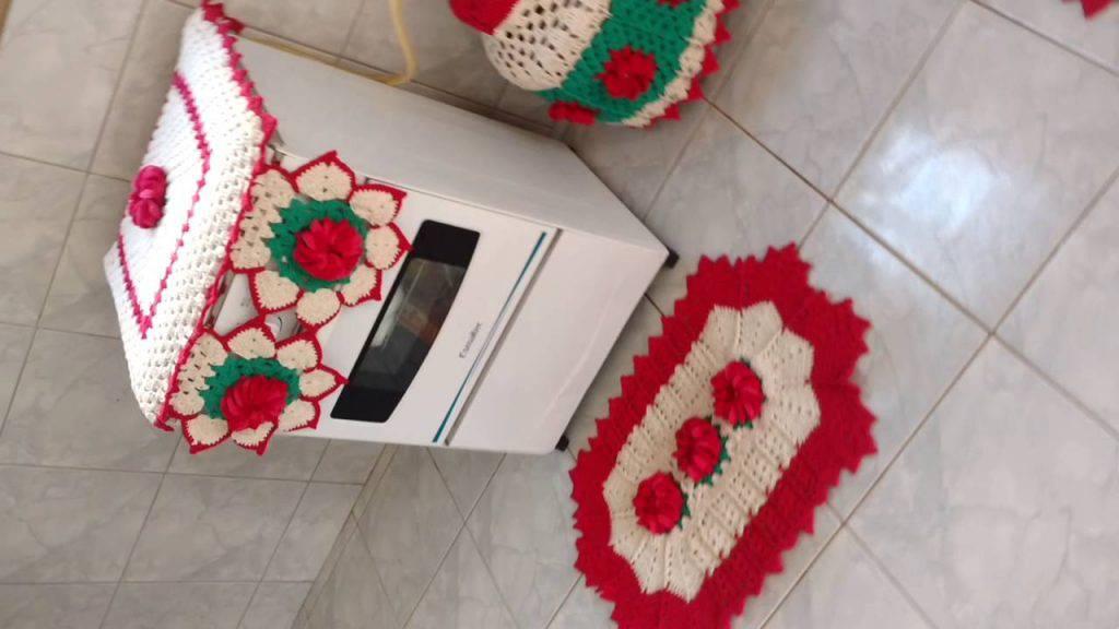 Decoração dos anos 90 - crochê no fogão