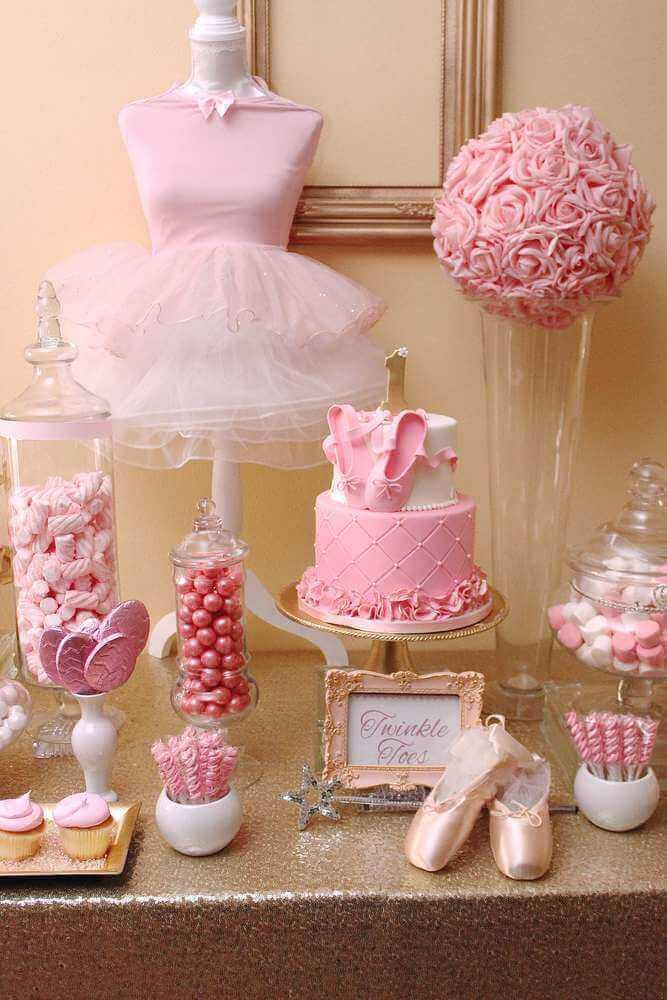 decoração para chá de bebê menina com tema bailarina Foto Catch My Party
