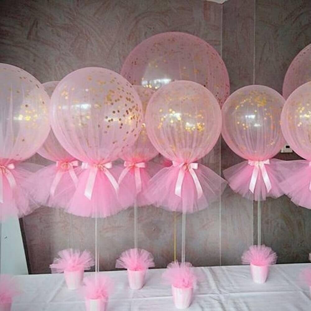 decoração para lembrancinhas de chá de bebê com balões cor de rosa Foto Baby Shower Ideas