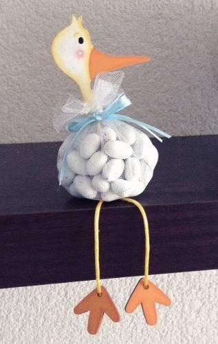 Decoração de chá de bebê com lembrancinha de patinho