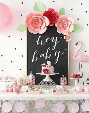 decoracao de cha de bebe mesa de flamingos