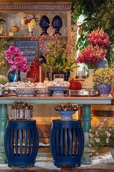 decoracao de festa azulejo portugues com flores