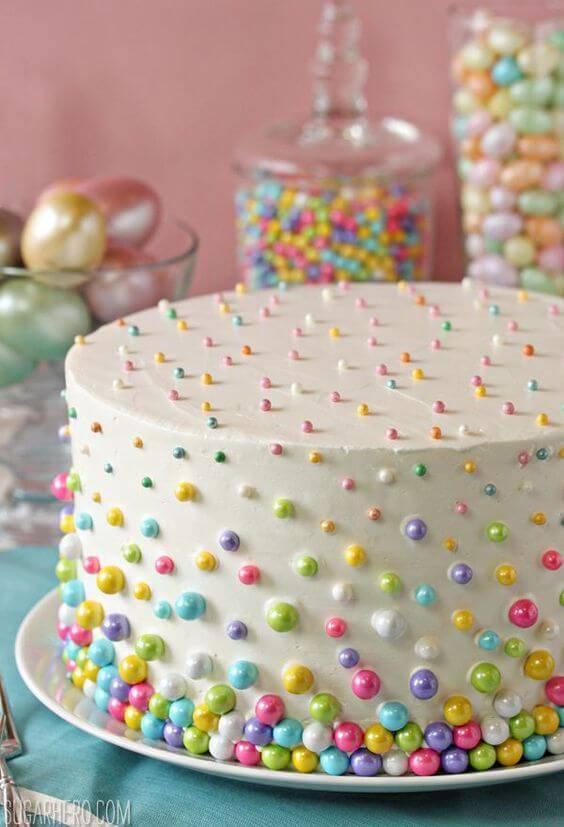 decoracao de festa bolo decorado com bolinhas