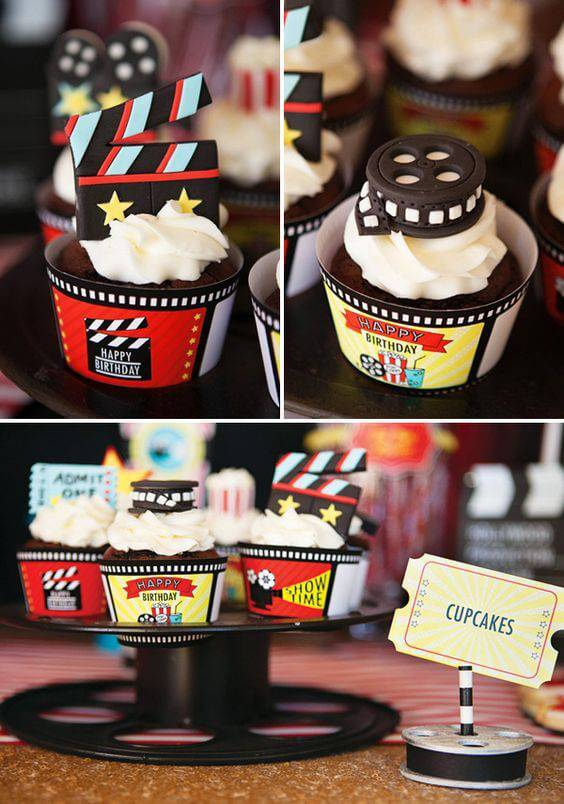 decoracao de festa cinema cupcakes