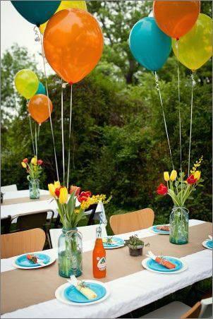 decoracao de festa externa bexigas coloridas