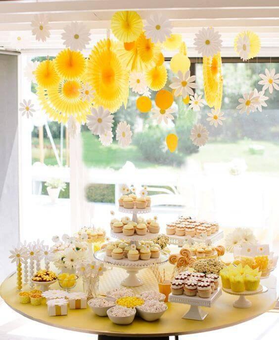 decoracao de festa mesa de guloseimas margaridas