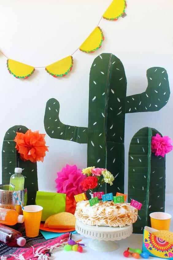 decoracao de festa mexicana cactos