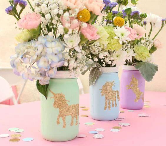 decoracao de festa unicornios e flores centro de mesa