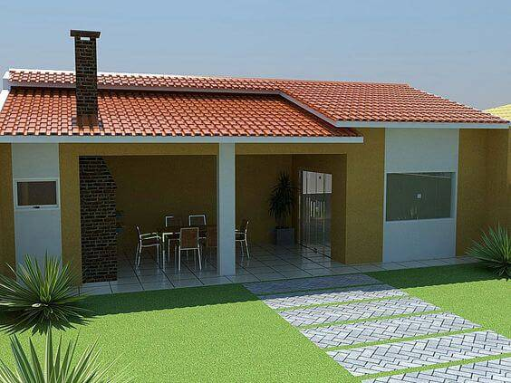 edicula amarela com gramado