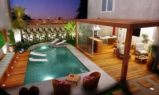 edicula com piscina cozinha e area de estar