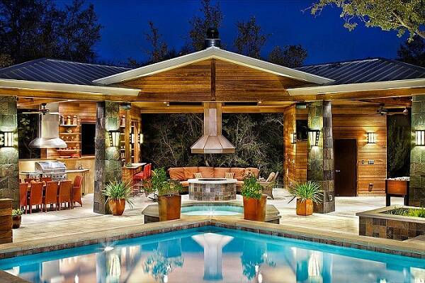 edicula em l madeira casa da piscina