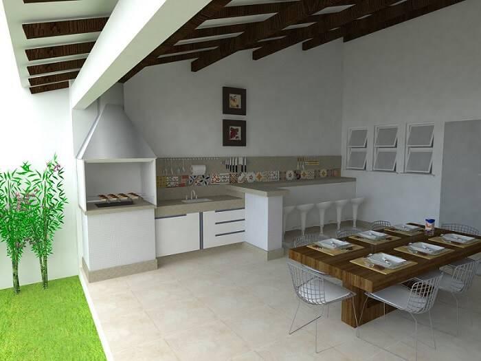 edicula projeto com mesa de madeira e cozinha
