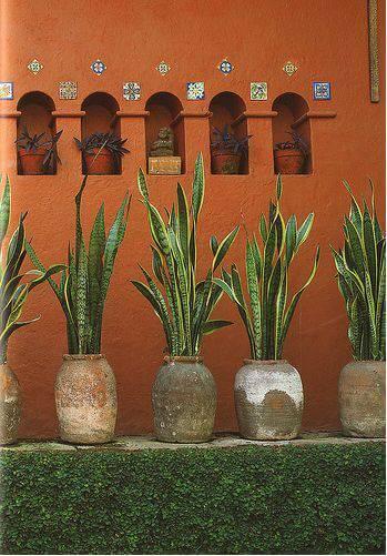 espada de sao jorge vasos antigos muro laranja