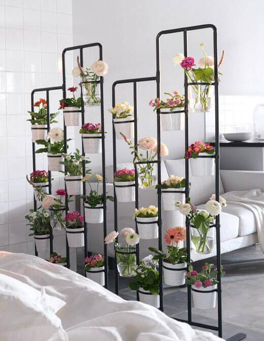 jardim suspenso armacao de metal sala de estar