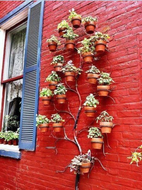 jardim suspenso arvore com vasos pequenos