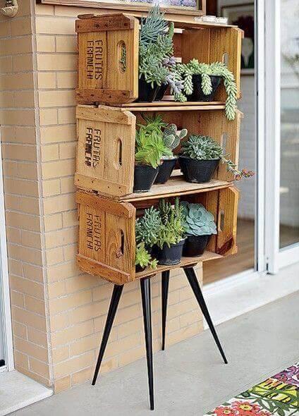 jardim suspenso com caixotes e suculentas