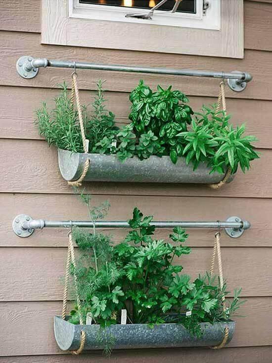 jardim suspenso com cordas e ganchos