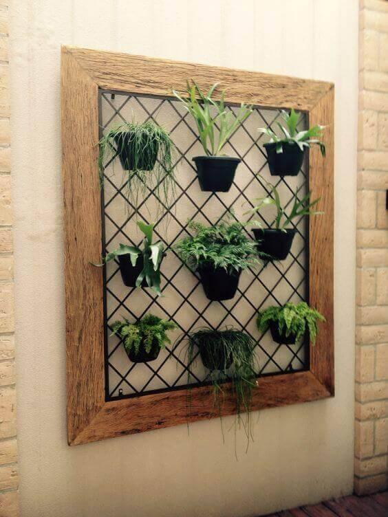 jardim suspenso moldura com grade