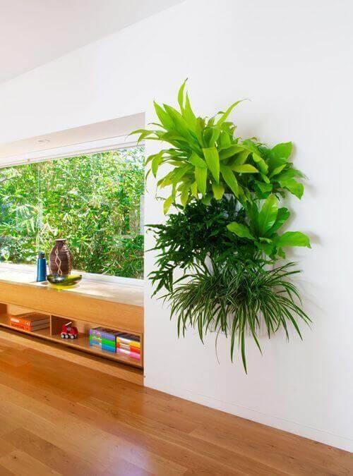 jardim suspenso sala de estar com plantas