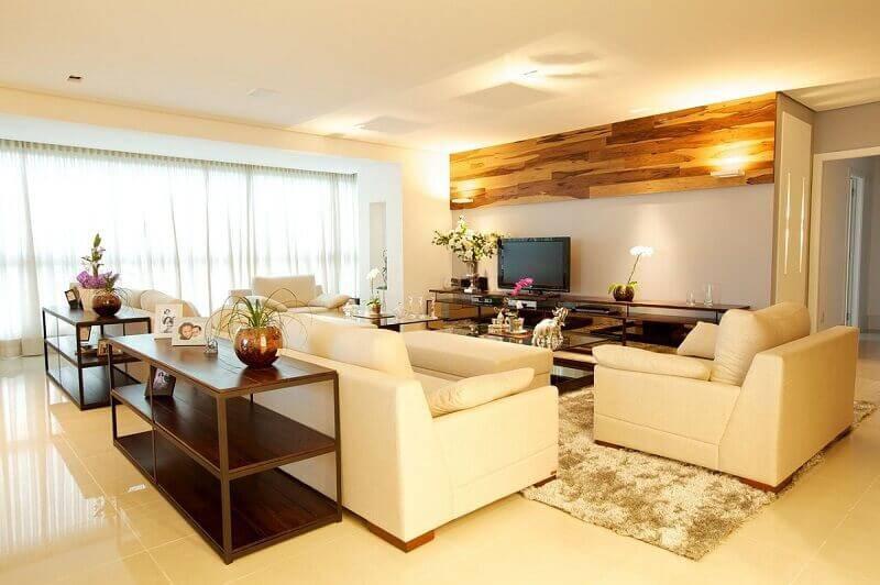 lampadas de led amarela sala de estar com madeira ludmilla coutinho 43515