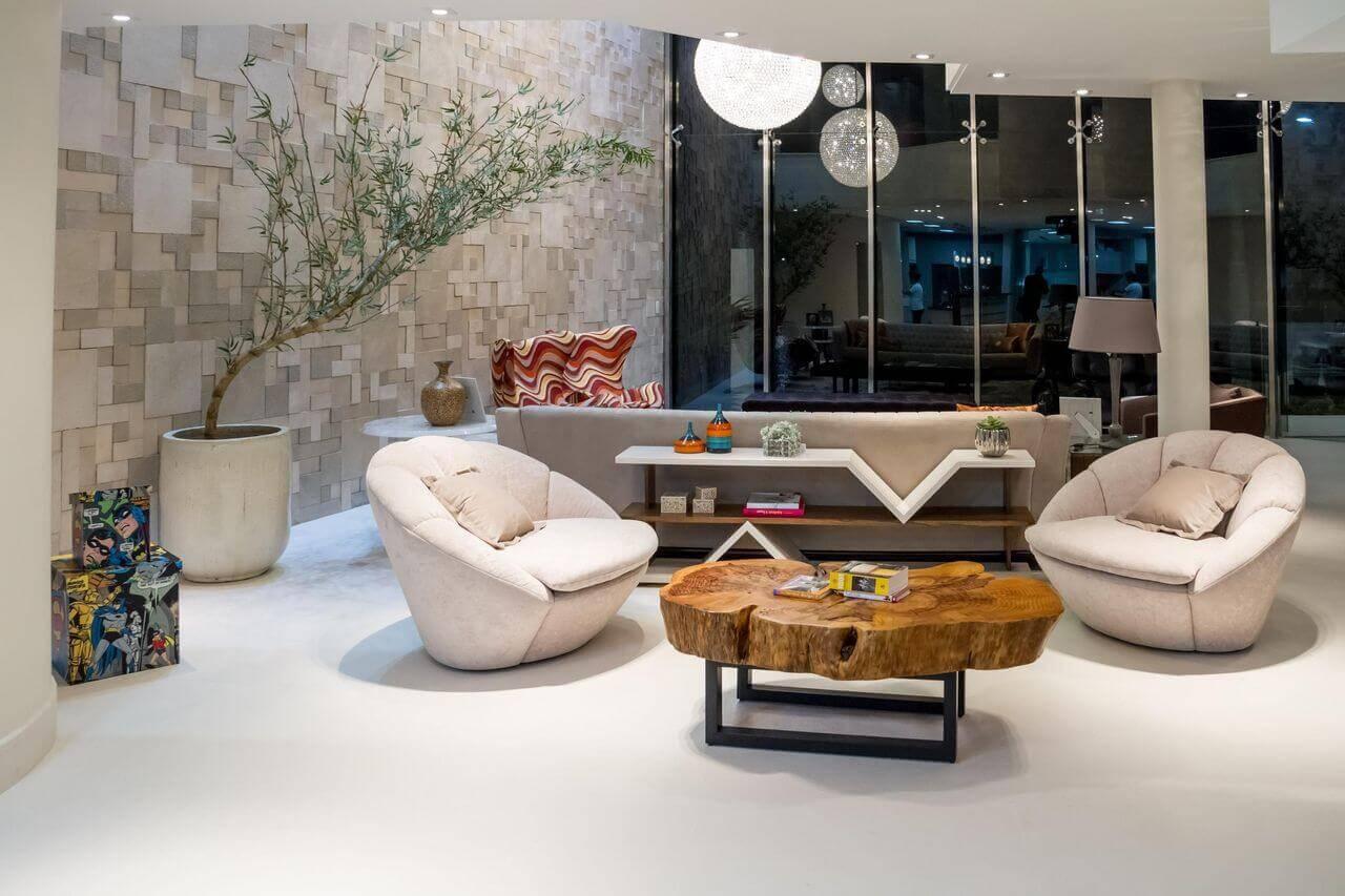 lampadas de led em lustre sala de estar com mesa e poltronas renata bertoni junior prestes arquitetura 44154