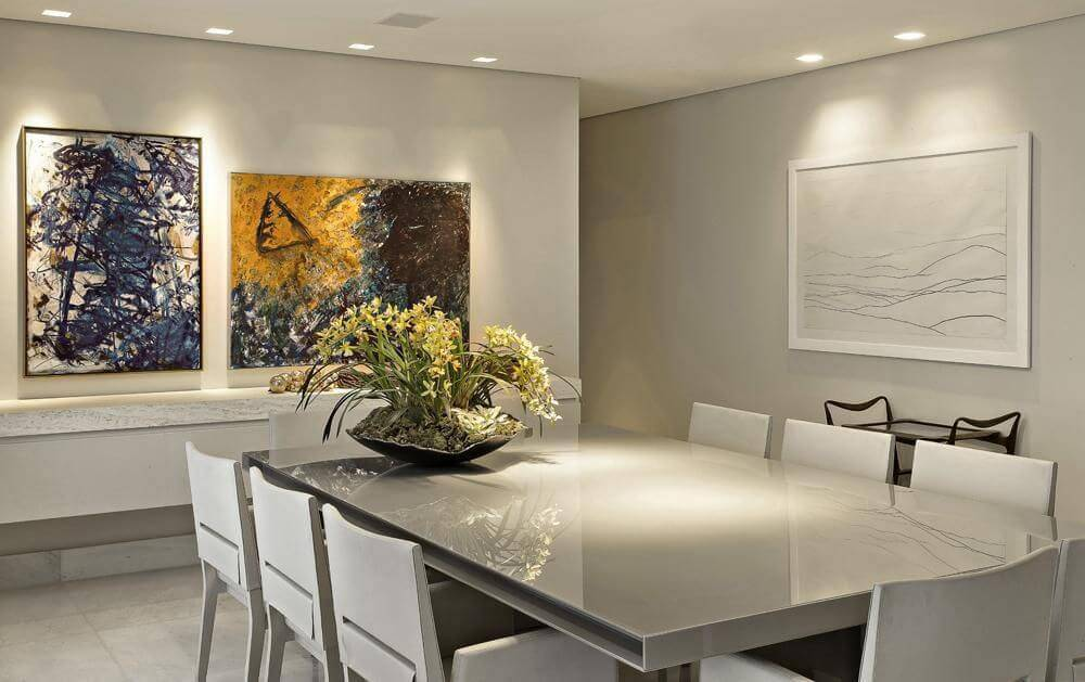 lampadas de led sala de jantar com mesa iluminada gislene lopes 25987