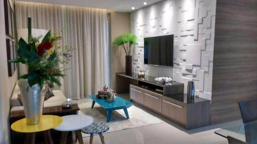 Mesa de centro colorida para sala de estar pequena