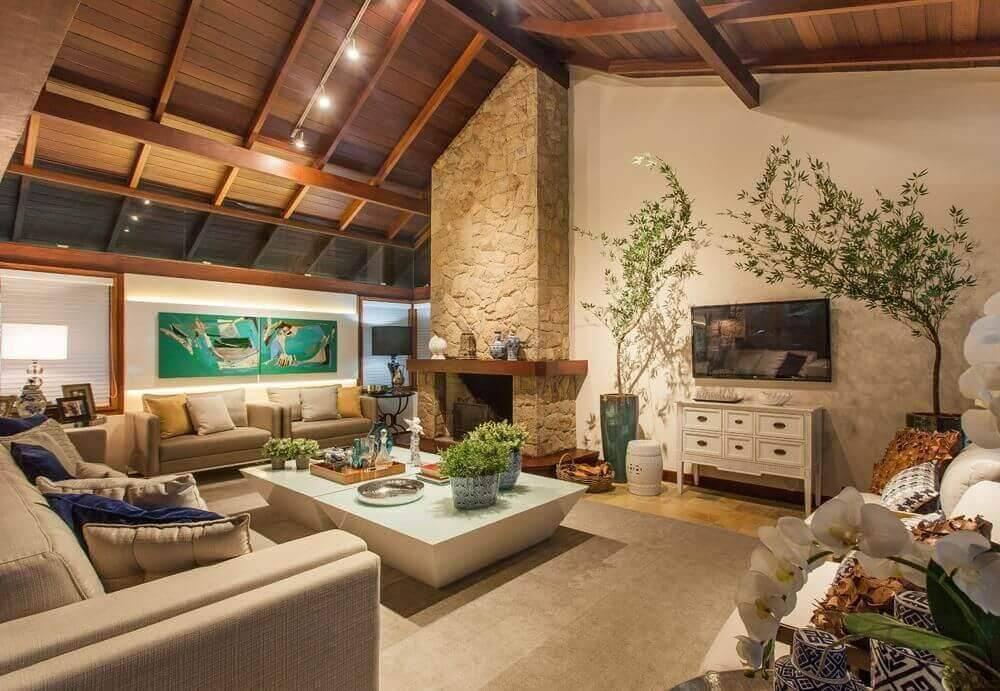 Mesa de centro dupla para sala de estar com lareira