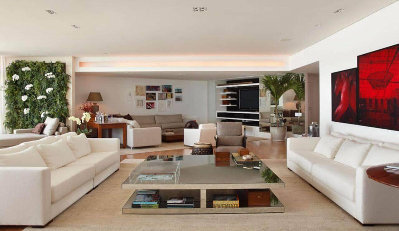 Mesa de centro espelhada quadrada para sala de estar ampla