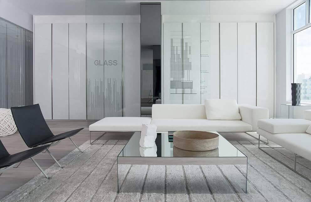 Mesa de centro espelhada sala de estar
