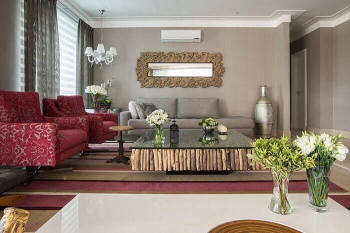 Mesa de centro madeira reflorestada para sala de estar