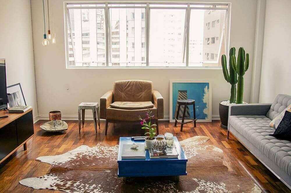mesa de centro quadrada colorida sala de estar vintage casa aberta 16264