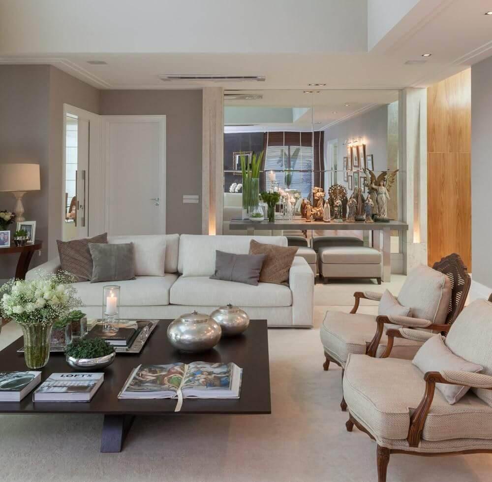 mesa de centro quadrada com vaso sala de estar ar arquitetura 7499
