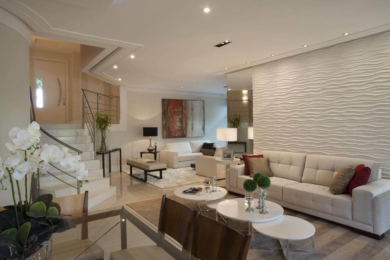 Mesa de centro redonda branca para sala de estar