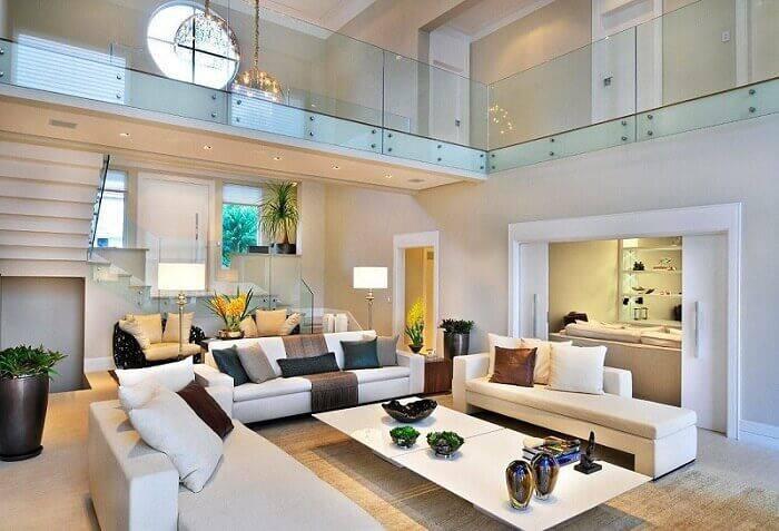 mesa de centro retangular branca sala de estar grande quitete e faria 41929