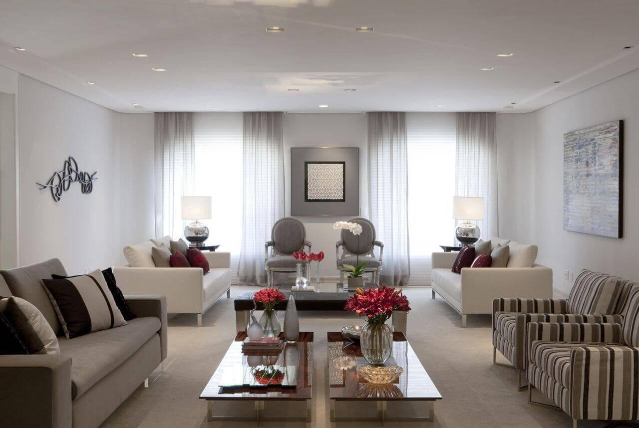Mesa de centro retangular dupla com vasos para sala de estar