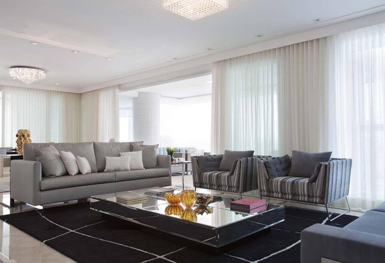 Mesa de centro retangular espelhada para sala de estar
