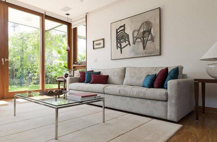 mesa de centro simples sala de estar cinza gramado adell e porto 13887