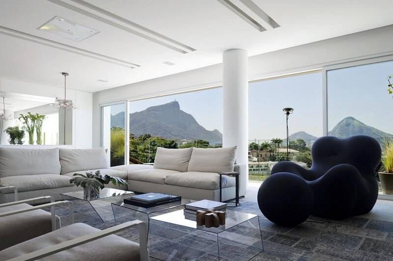Mesa de centro tripla de vidro para sala de estar